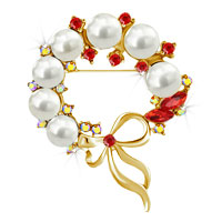Vintage Gold Floral Bowknot Red Crystal Rhinestone Pearl Wreath Brooch Pin