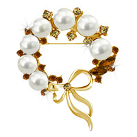 Vintage Gold Floral Bowknot Yellow Crystal Rhinestone Pearl Brooch Pin