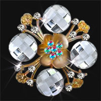 Silver Vintage Crystal Rhinestone Wedding Bridal Bouquet Flower Brooch Pin