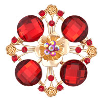 Women?? S Vintage Red Crystal Rhinestone Gold Floral Flower Wedding Pin Brooch