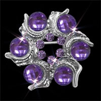 Purple Crystal Rhinestone Round Open Floral Flower Leaf Silver Pin Brooch