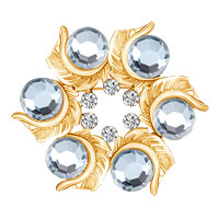 White Crystal Rhinestone Round Open Floral Flower Leaf Silver Pin Brooches