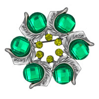 Green Crystal Rhinestone Round Floral Flower Leaf Silver Pin Brooch Gifts
