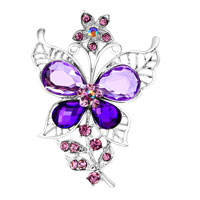 Purple Butterfly Pin Brooch Vintage Rhinestone Crystal Wedding Brida