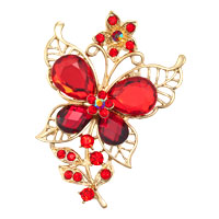 Vintage Red Rhinestone Crystal Gold Butterfly Flower Brooch Pin Wedding