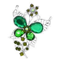 Vintage Green Rhinestone Crystal Gold Butterfly Flower Brooch Pin Wedding