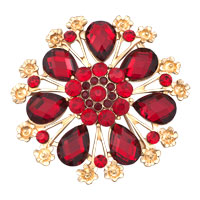 Women Red Rhinestone Crystal Gold Floral Flower Wedding Brooch Pin Gifts