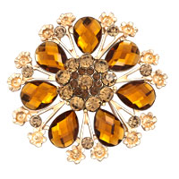Women Yellow Rhinestone Crystal Gold Floral Flower Wedding Brooch Pin Gifts