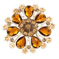Women Yellow Rhinestone Crystal Gold Floral Flower Wedding Brooch Pin Gifts