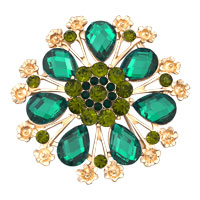 Vintage Green Rhinestone Crystal Gold Floral Flower Wedding Brooch Pin Gifts