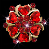 Red Heart Crystal Rhinestone Floral Flower Pin Brooch Wedding/ Party Brooch