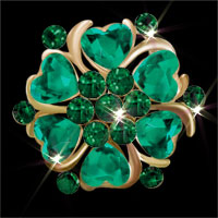 Green Heart Crystal Rhinestone Floral Flower Pin Brooch Wedding/ Party Brooch
