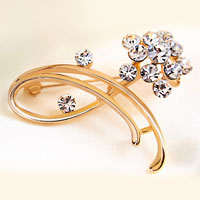 White Rhinestone Crystal Brooches Gold Floral Wedding Bridal Brooches Pin