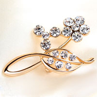 White Rhinestone Crystal Gold Open Floral Wedding Bridal Bouquet Brooch Pin