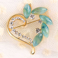 Vintage Heart Blue Rhinestone Crystal Brooches Pin Gold Floral Flower Brooch