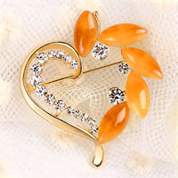 Vintage Heart Yellow Rhinestone Crystal Brooches Gold Floral Flower Brooch