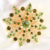 Green Rhinestone Crystal Flower Floral Brooch Pin Wedding Bridal Bouquet