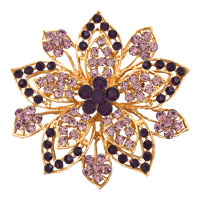 Vintage Gold Flower Brooches Purple Rhinestone Crystal Brooch Women