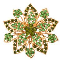 Peridot Green Drop Stone Crystal Rhinestone Open Floral Flower Leaf Pin Brooch