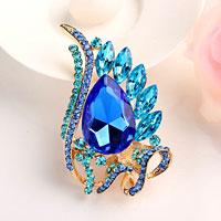 Sapphire Blue Drop Stone Crystal Rhinestone Open Floral Flower Leaf Pin Brooch