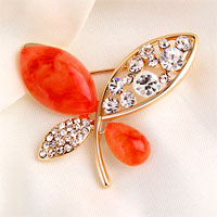 Vintage Butterfly Brooches Orange Rhinestone Crystal Pin Brooch New