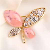 Vintage Butterfly Brooches Pink Rhinestone Crystal Pin Brooch New