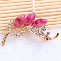 Purple Drop Stone Crystal Rhinestone Open Floral Flower Leaf Pin Brooch