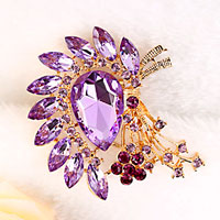 New Vintage Floral Flower Drop Brooch Pin Purple Rhinestone Crystal Pendant