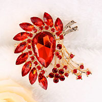 New Vintage Floral Flower Drop Brooch Pin Red Rhinestone Crystal Wedding