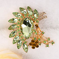 New Vintage Floral Flower Drop Brooch Pin Green Rhinestone Crystal Gifts