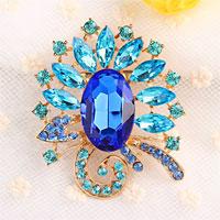 Fashion Big Blue Drop Rhinestone Crystal Gold Floral Flower Pin Brooch Women