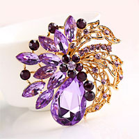 Purple Rhinestone Crystal Gold Floral Flower Brooch Pin Wedding Bridal