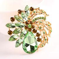 Vintage Rhinestone Crystal Gold Floral Flower Brooch Pin Wedding Bridal