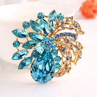 Blue Rhinestone Crystal Gold Floral Flower Brooch Pin Wedding Bridal Brooch