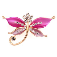Butterfly Brooch Pin Enamel White Rhinestone Crystal Pink Bridal Brooches