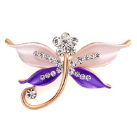 Butterfly Brooch Pin Enamel White Rhinestone Crystal Purple Bridal Brooches