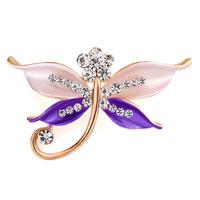 Butterfly Brooch Pin Enamel White Rhinestone Crystal Purple Bridal Brooches