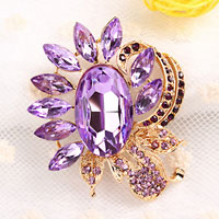 Purple Rhinestone Crystal Floral Flower Brooch Pin Wedding Bridal Bouquet