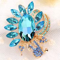 Blue Rhinestone Crystal Floral Flower Brooch Pin Wedding Bridal Bouquet
