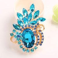 Vintage Floral Flower Brooch Pin Bluerhinestone Crystal Pendant Brooch
