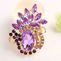 Vintage Floral Flower Brooch Pin Purple Rhinestone Crystal Pendant