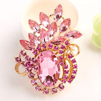 Vintage Floral Flower Drop Brooch Pin Pink Rhinestone Crystal Pendant Women