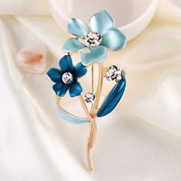 Blue Drop Stone Crystal Rhinestone Open Floral Flower Leaf Pin Brooch