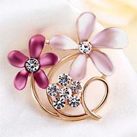 Vintage Pink Enamel Floral Flower Brooch Clear Rhinestone Crystal Brooches
