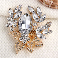 Vintage Floral Flower Drop Brooch Pin White Rhinestone Crystal Pendant Women