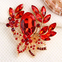 Vintage Floral Flower Drop Brooch Pin Red Rhinestone Crystal Pendant Women