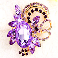 Vintage Floral Flower Drop Brooch Pin Purple Rhinestone Crystal Pendant