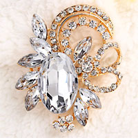 Vintage Floral Flower Drop Brooch Pin White Rhinestone Crystal Pendant
