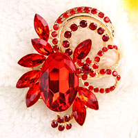 Vintage Floral Flower Drop Brooch Pin Red Rhinestone Crystal Pendant