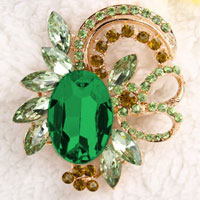 Vintage Floral Flower Drop Brooch Pin Green Rhinestone Crystal Pendant